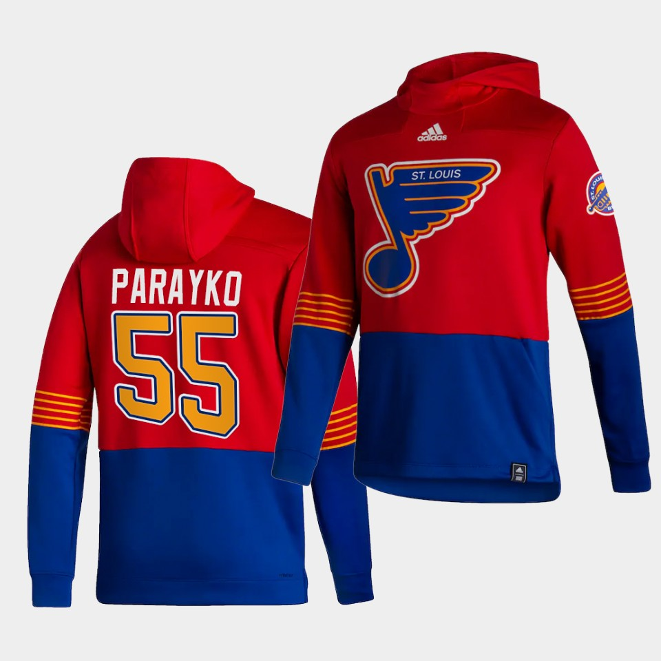 Wholesale Men St.Louis Blues 55 Parayko Red NHL 2021 Adidas Pullover Hoodie Jersey