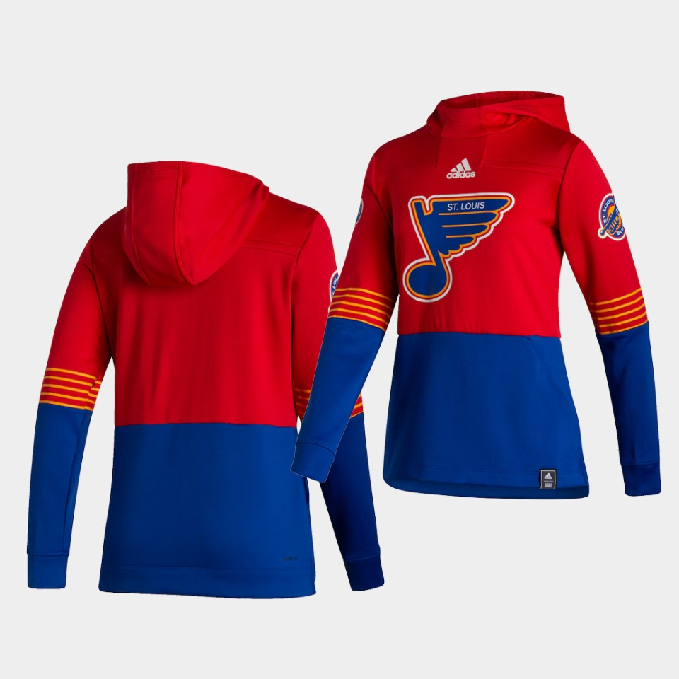 Wholesale Men St.Louis Blues Blank Red NHL 2021 Adidas Pullover Hoodie Jersey
