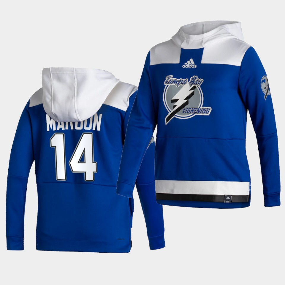 Wholesale Men Tampa Bay Lightning 14 Maroon Blue NHL 2021 Adidas Pullover Hoodie Jersey