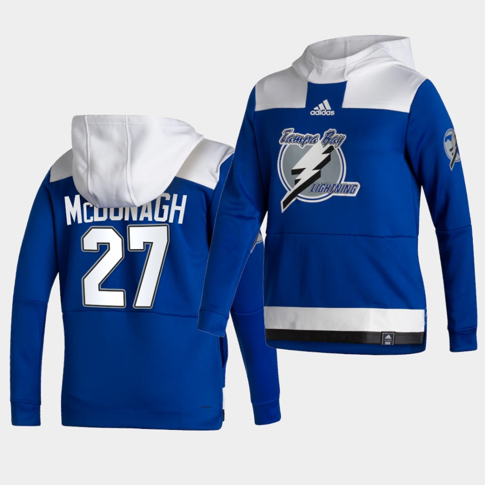 Wholesale Men Tampa Bay Lightning 27 Mcdonagh Blue NHL 2021 Adidas Pullover Hoodie Jersey