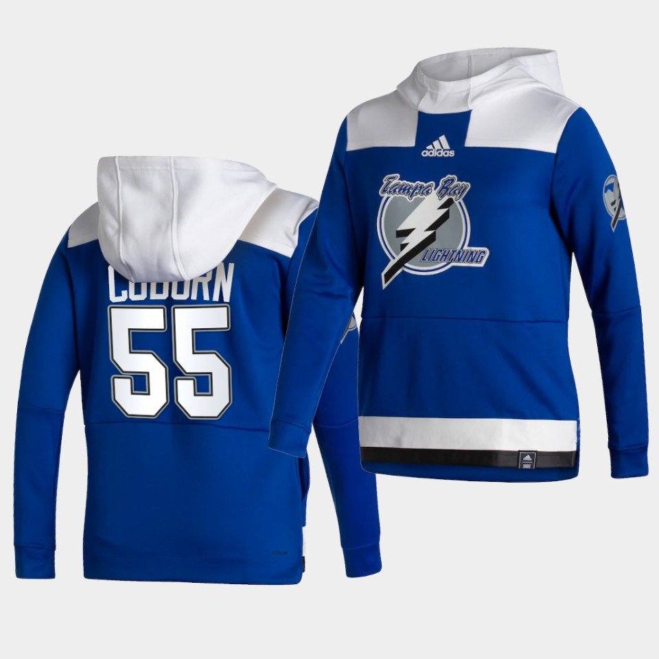 Wholesale Men Tampa Bay Lightning 55 Coburn Blue NHL 2021 Adidas Pullover Hoodie Jersey