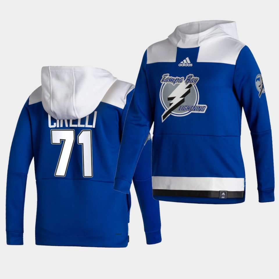 Wholesale Men Tampa Bay Lightning 71 Cirelli Blue NHL 2021 Adidas Pullover Hoodie Jersey