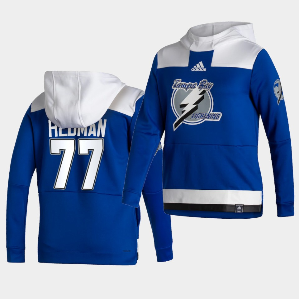 Wholesale Men Tampa Bay Lightning 77 Hedman Blue NHL 2021 Adidas Pullover Hoodie Jersey