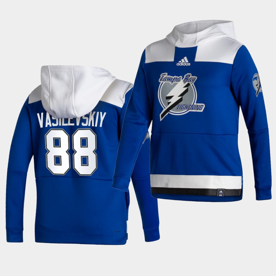 Wholesale Men Tampa Bay Lightning 88 Vasilevskiy Blue NHL 2021 Adidas Pullover Hoodie Jersey