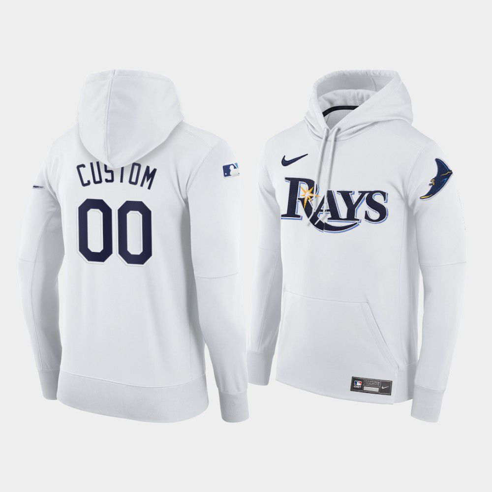 Cheap Men Tampa Bay Rays 00 Custom white home hoodie 2021 MLB Nike Jerseys