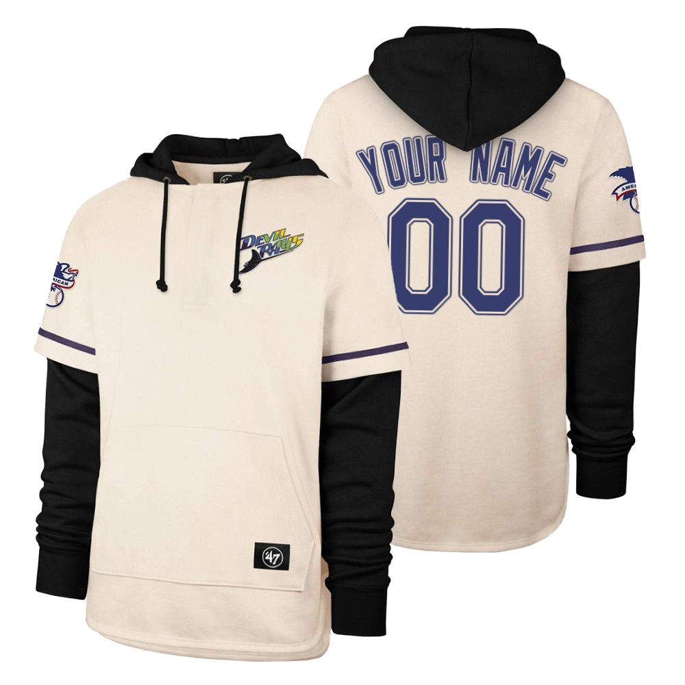Cheap Men Tampa Bay Rays 00 Your name Cream 2021 Pullover Hoodie MLB Jersey