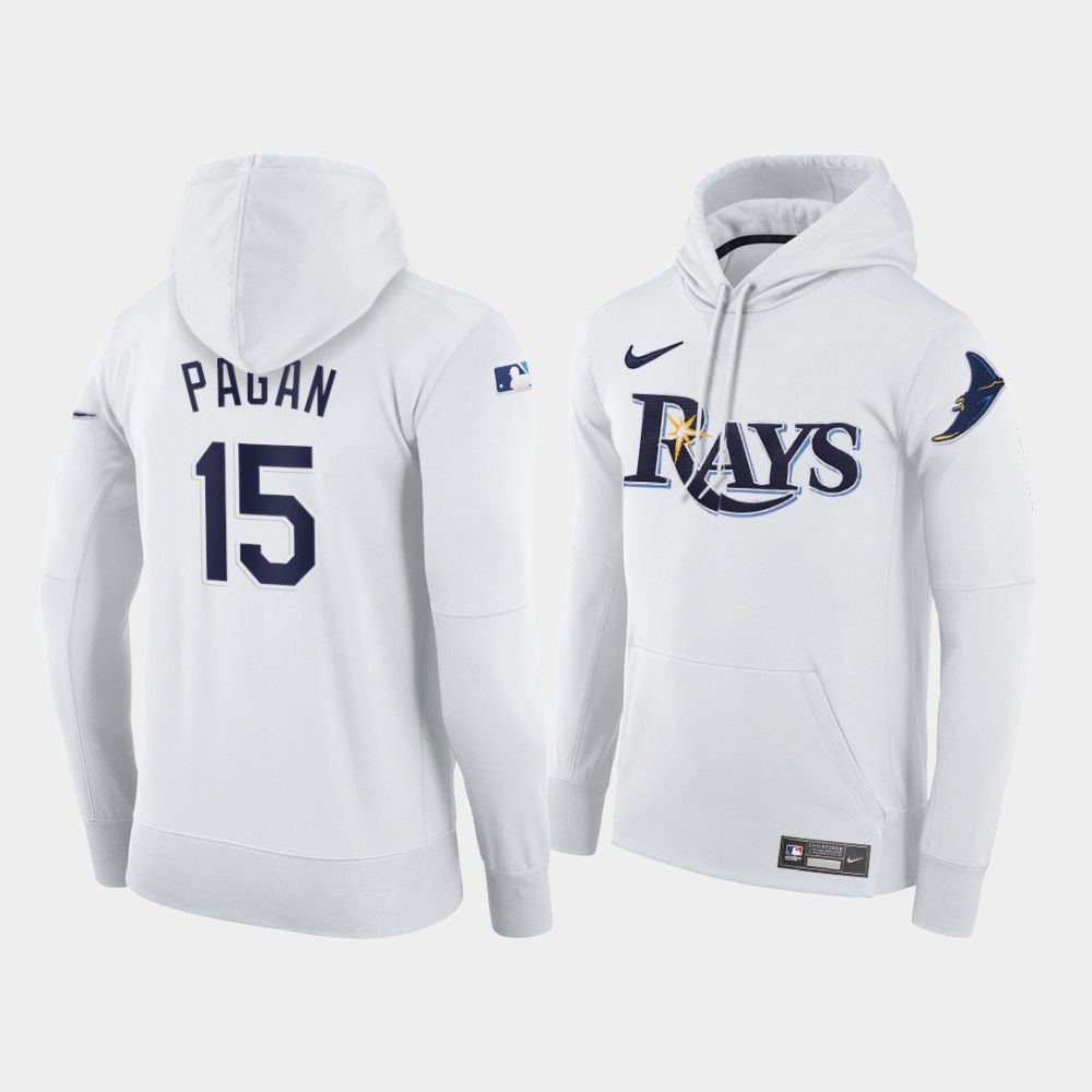 Cheap Men Tampa Bay Rays 15 Pagan white home hoodie 2021 MLB Nike Jerseys