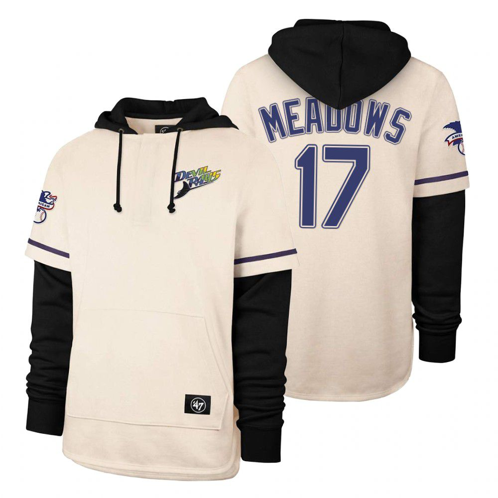 Cheap Men Tampa Bay Rays 17 Meadows Cream 2021 Pullover Hoodie MLB Jersey