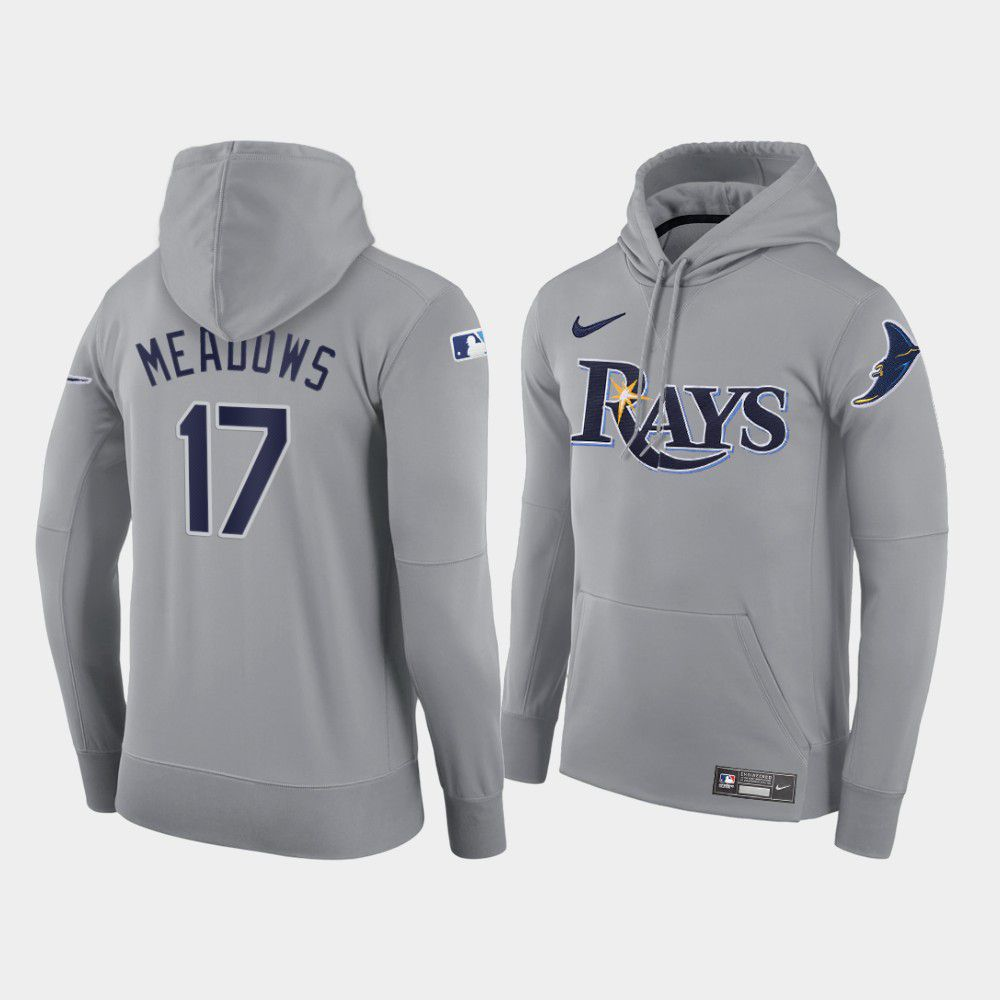 Cheap Men Tampa Bay Rays 17 Meadows gray road hoodie 2021 MLB Nike Jerseys