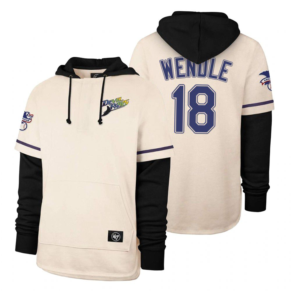 Cheap Men Tampa Bay Rays 18 Wendle Cream 2021 Pullover Hoodie MLB Jersey