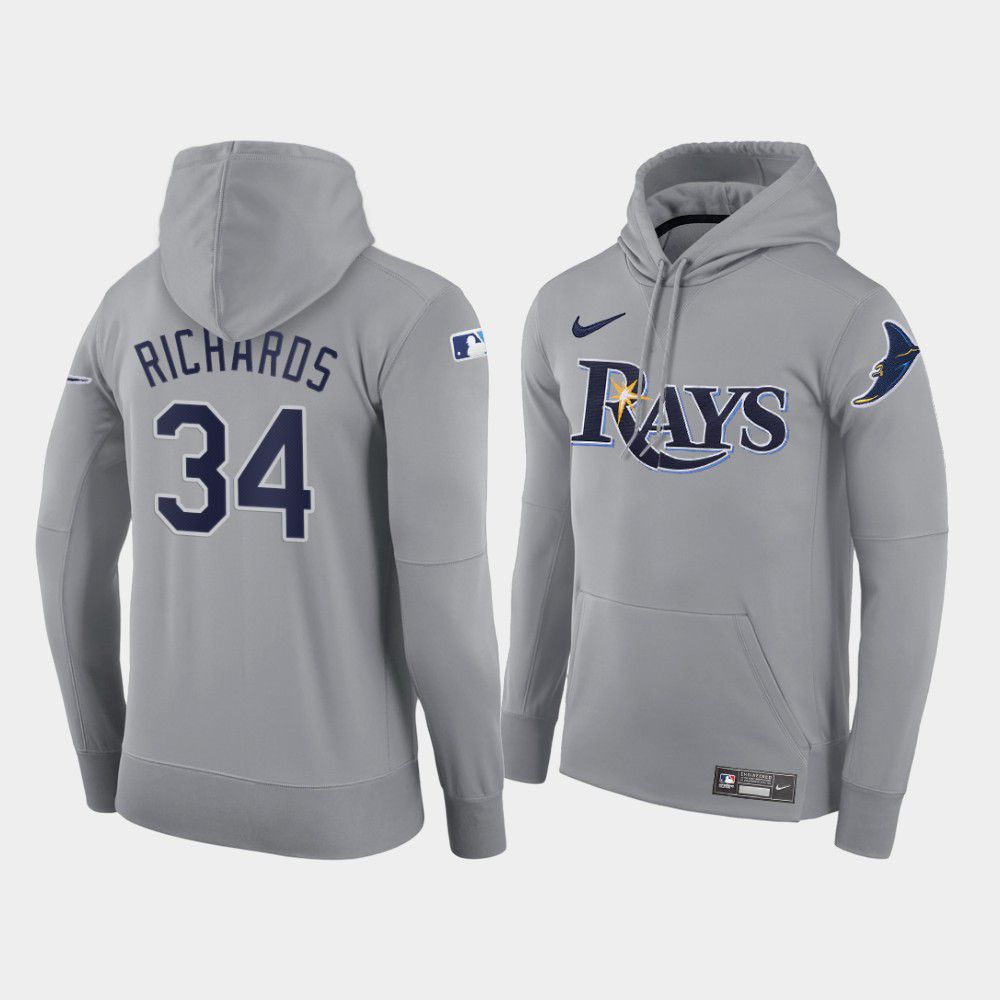 Cheap Men Tampa Bay Rays 34 Richards gray road hoodie 2021 MLB Nike Jerseys