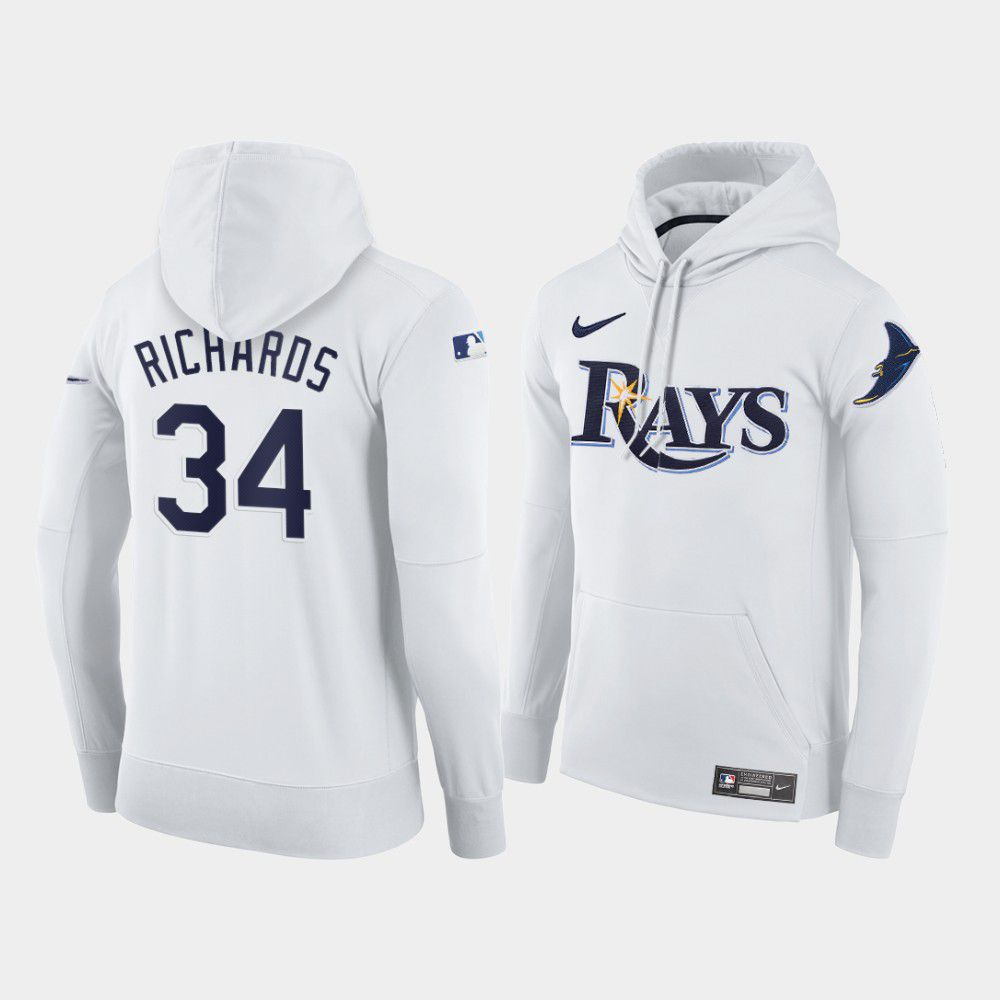 Cheap Men Tampa Bay Rays 34 Richards white home hoodie 2021 MLB Nike Jerseys