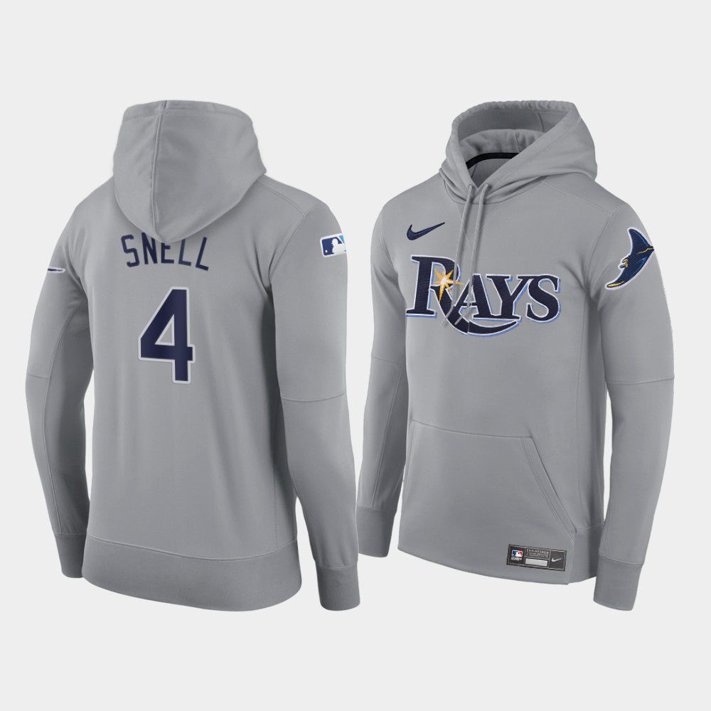 Cheap Men Tampa Bay Rays 4 Snell gray road hoodie 2021 MLB Nike Jerseys