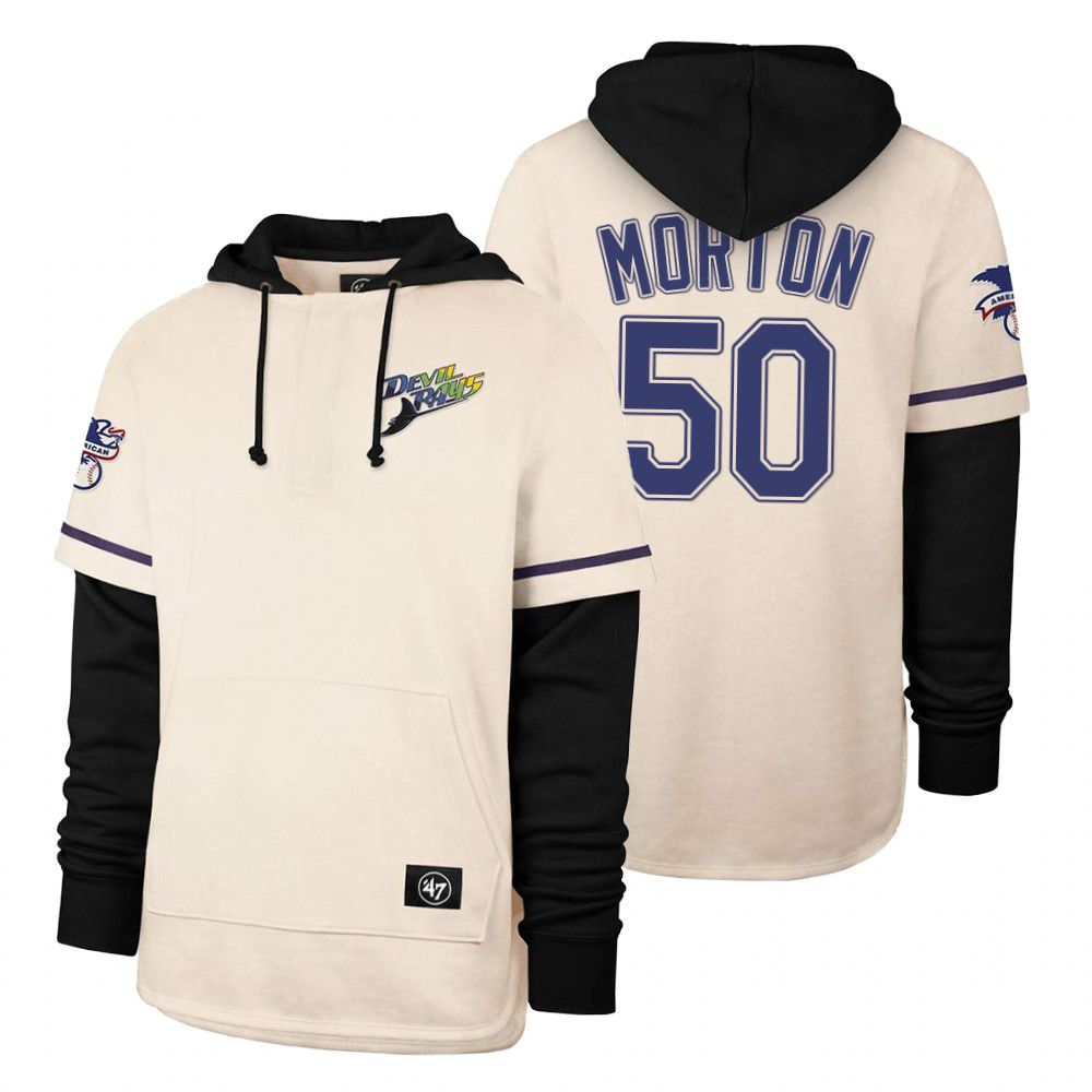 Cheap Men Tampa Bay Rays 50 Morton Cream 2021 Pullover Hoodie MLB Jersey