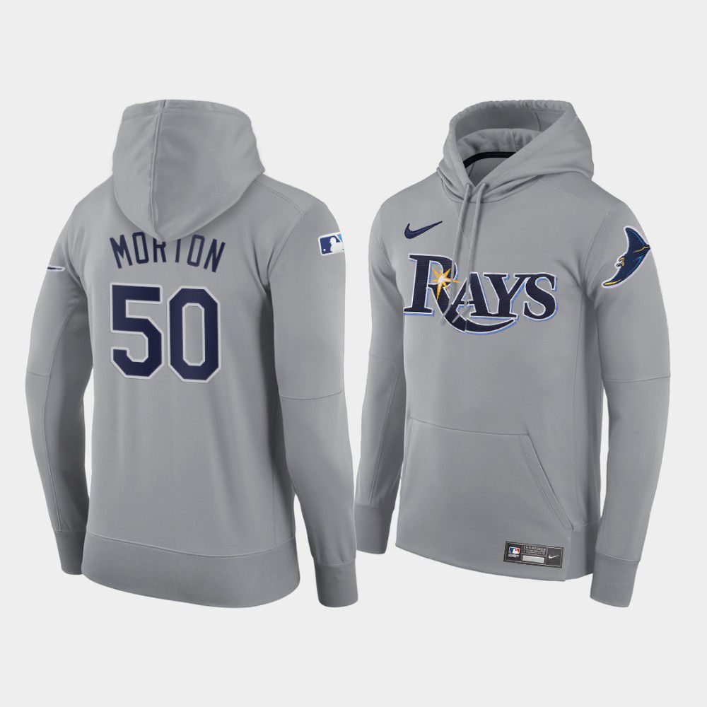 Cheap Men Tampa Bay Rays 50 Morton gray road hoodie 2021 MLB Nike Jerseys