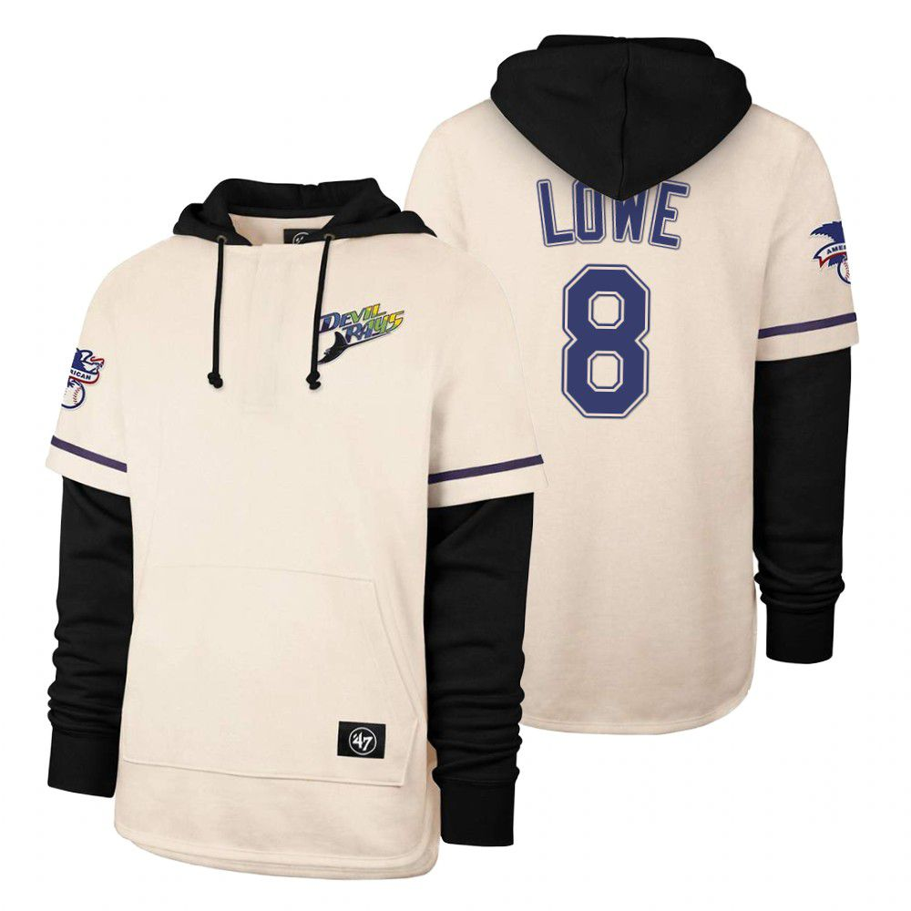 Cheap Men Tampa Bay Rays 8 Lowe Cream 2021 Pullover Hoodie MLB Jersey