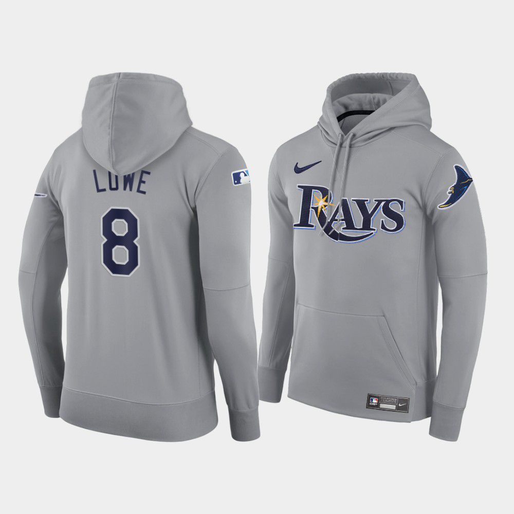 Cheap Men Tampa Bay Rays 8 Lowe gray road hoodie 2021 MLB Nike Jerseys