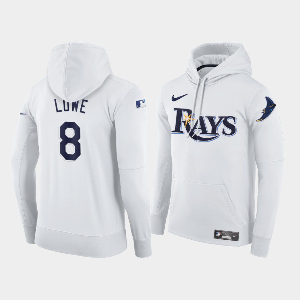 Cheap Men Tampa Bay Rays 8 Lowe white home hoodie 2021 MLB Nike Jerseys