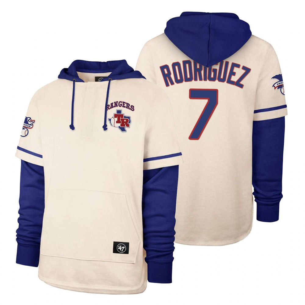 Cheap Men Texas Rangers 7 Rodriguez Cream 2021 Pullover Hoodie MLB Jersey