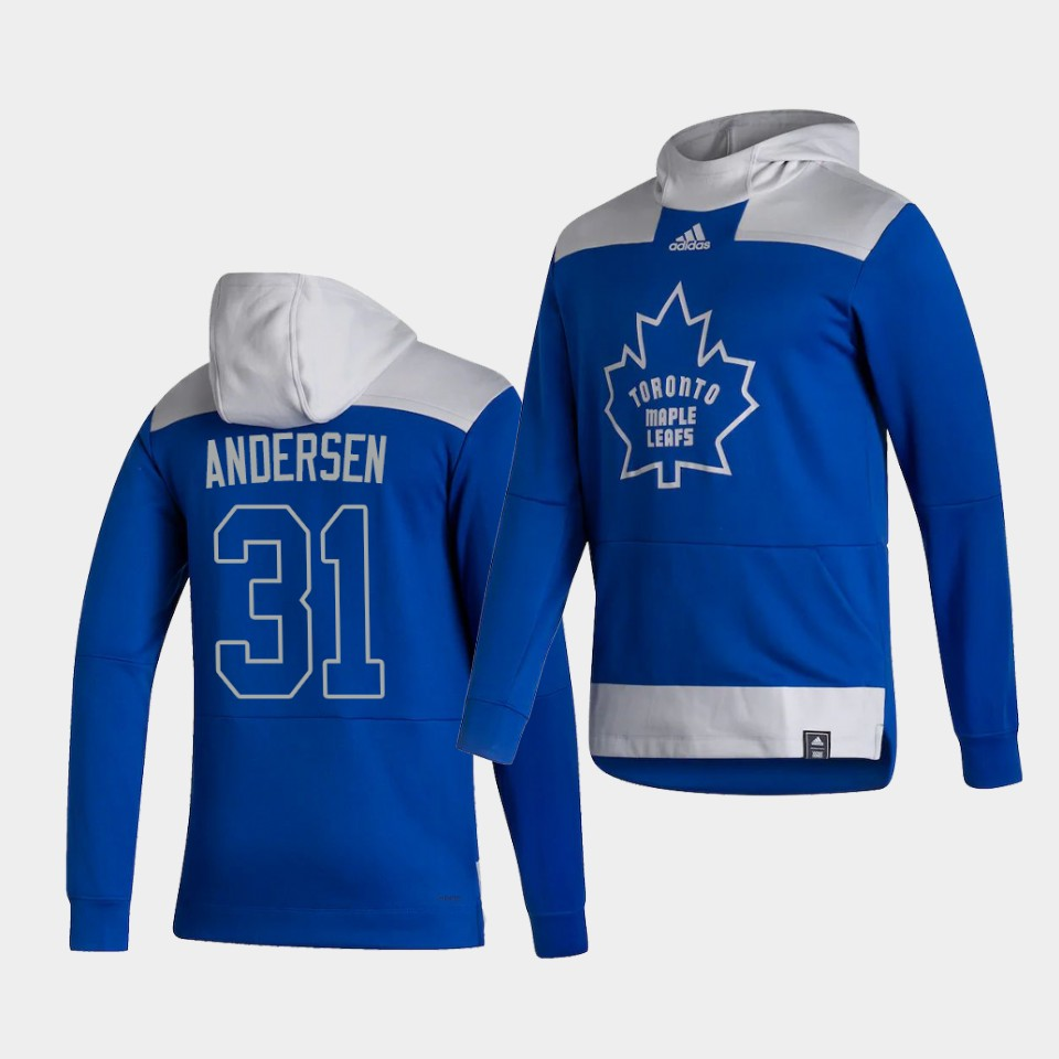Wholesale Men Toronto Maple Leafs 31 Andersen Blue NHL 2021 Adidas Pullover Hoodie Jersey