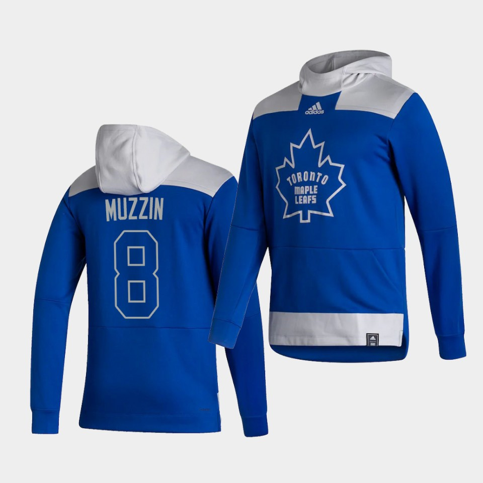 Wholesale Men Toronto Maple Leafs 8 Muzzin Blue NHL 2021 Adidas Pullover Hoodie Jersey