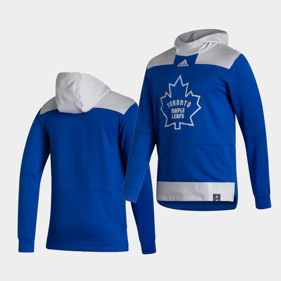 Wholesale Men Toronto Maple Leafs Blank Blue NHL 2021 Adidas Pullover Hoodie Jersey