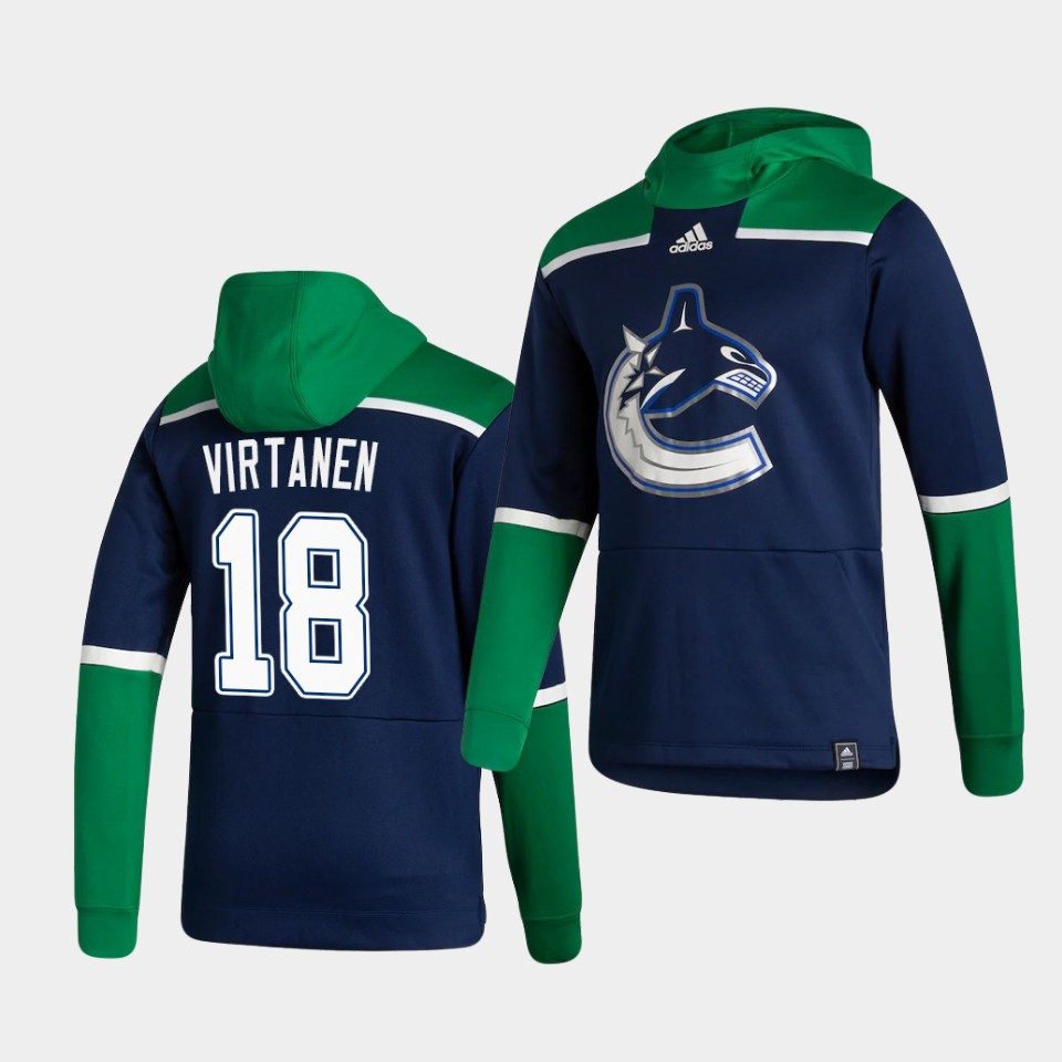 Cheap Men Vancouver Canucks 18 Virtanen Blue NHL 2021 Adidas Pullover Hoodie Jersey