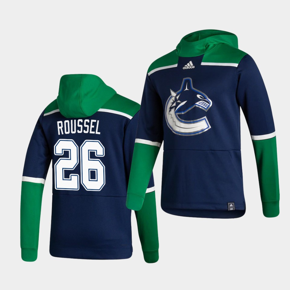 Cheap Men Vancouver Canucks 26 Roussel Blue NHL 2021 Adidas Pullover Hoodie Jersey