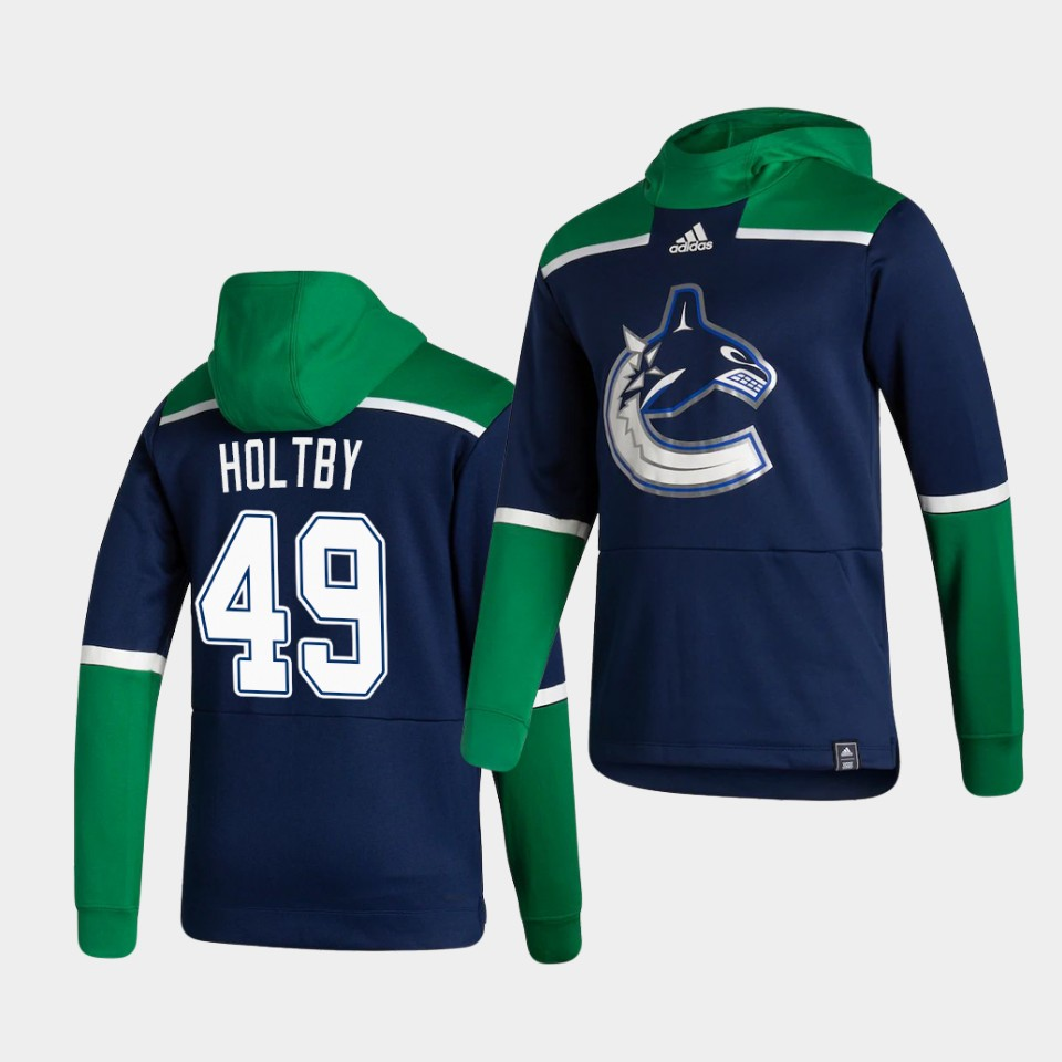 Cheap Men Vancouver Canucks 49 Holtby Blue NHL 2021 Adidas Pullover Hoodie Jersey