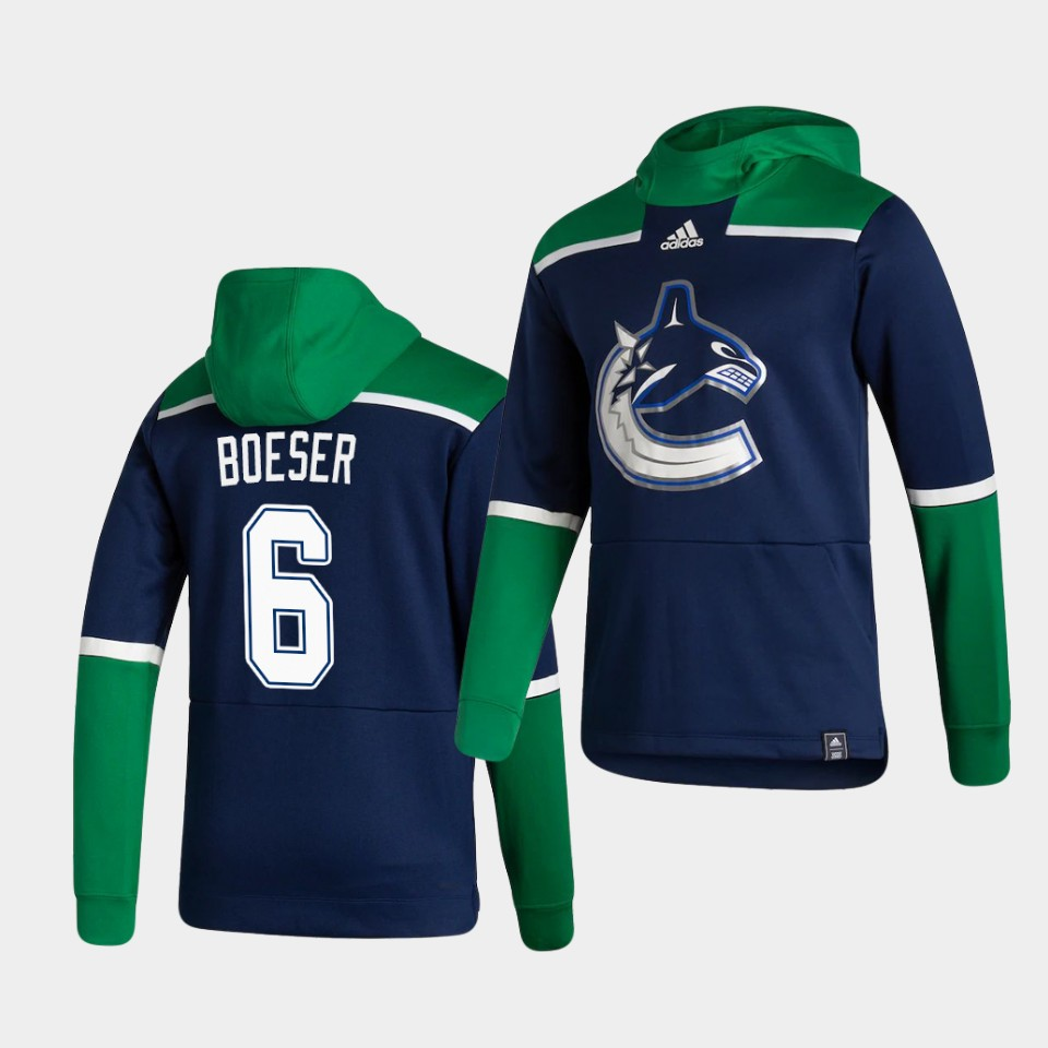 Cheap Men Vancouver Canucks 6 Boeser Blue NHL 2021 Adidas Pullover Hoodie Jersey