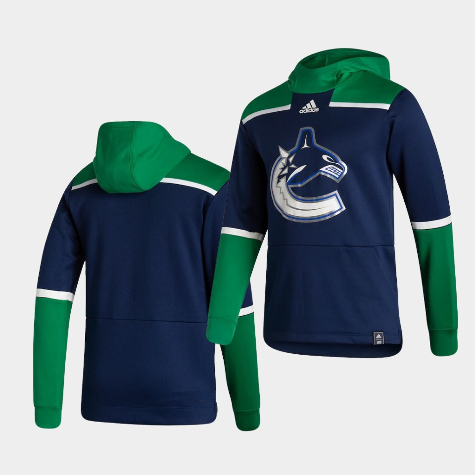 Cheap Men Vancouver Canucks Blank Blue NHL 2021 Adidas Pullover Hoodie Jersey