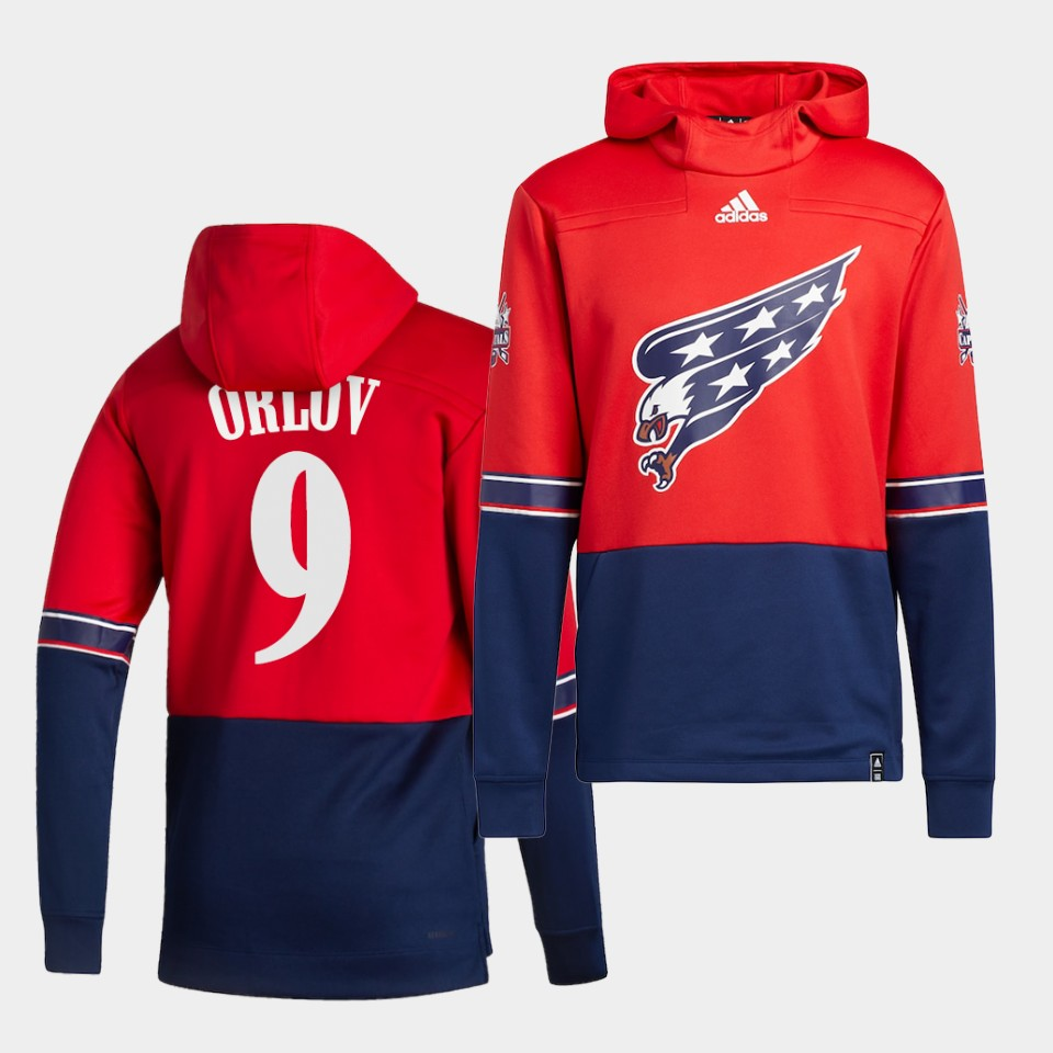 Wholesale Men Washington Capitals 9 Orluv Red NHL 2021 Adidas Pullover Hoodie Jersey