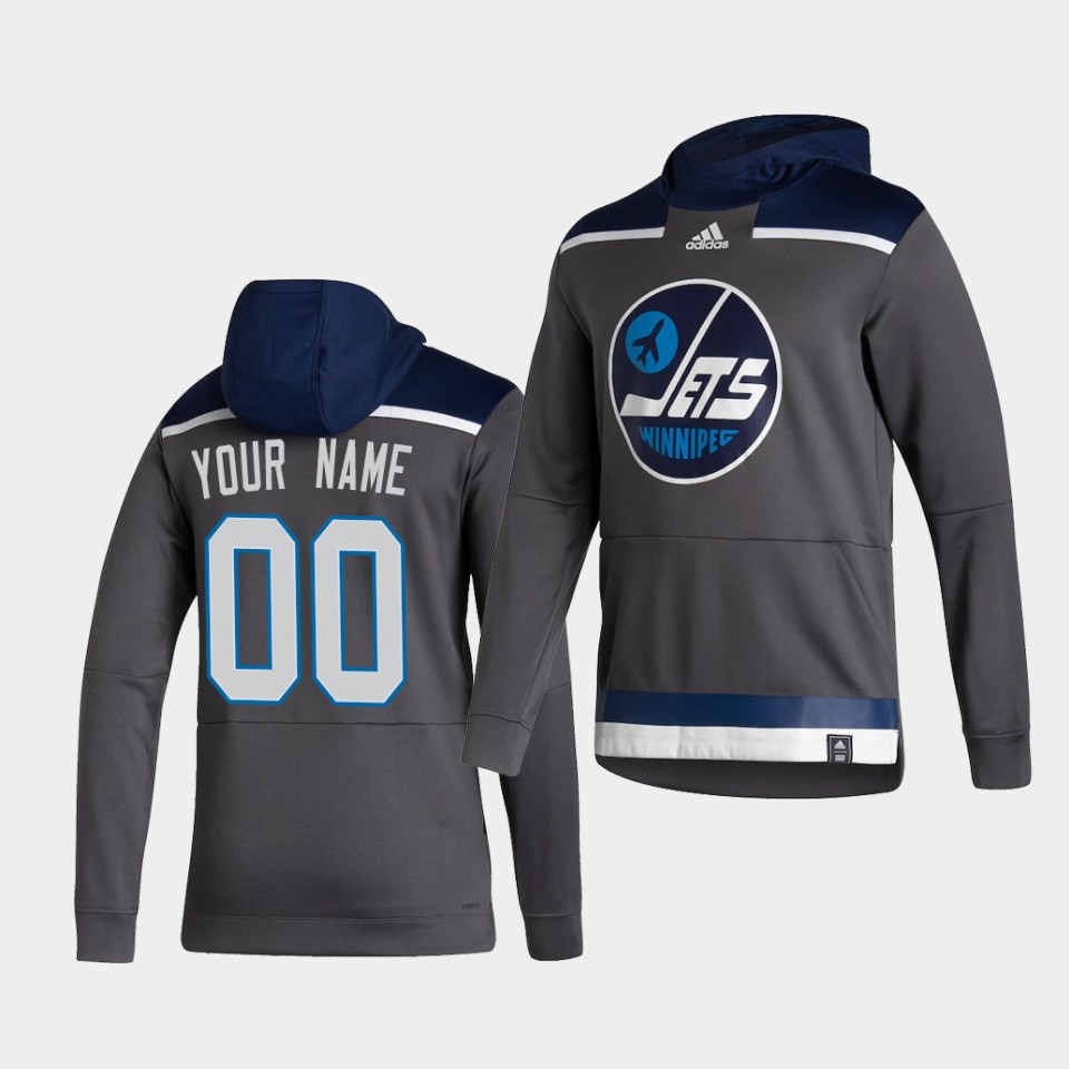 Cheap Men Winnipeg Jets 00 Your name Grey NHL 2021 Adidas Pullover Hoodie Jersey