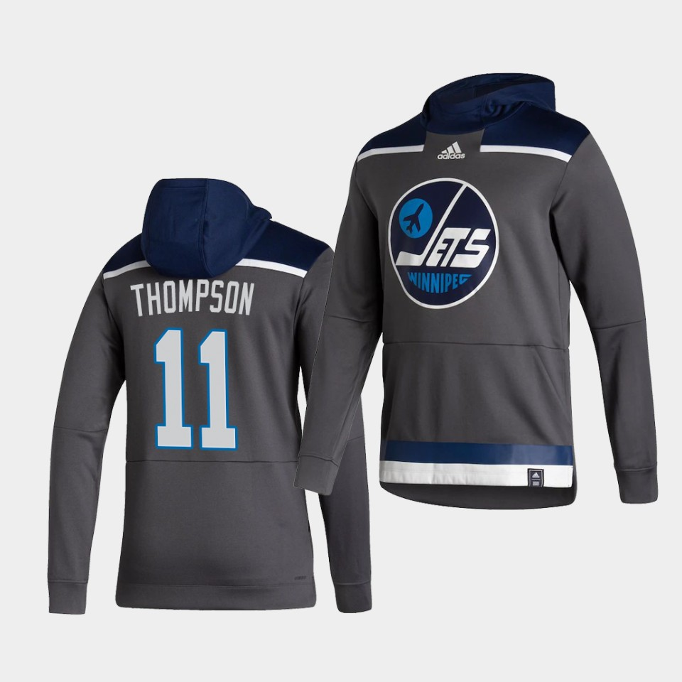 Cheap Men Winnipeg Jets 11 Thompson Grey NHL 2021 Adidas Pullover Hoodie Jersey