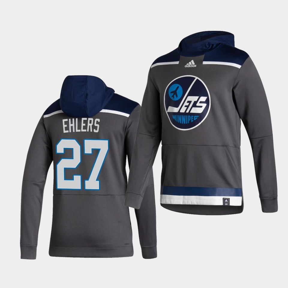 Cheap Men Winnipeg Jets 27 Ehlers Grey NHL 2021 Adidas Pullover Hoodie Jersey