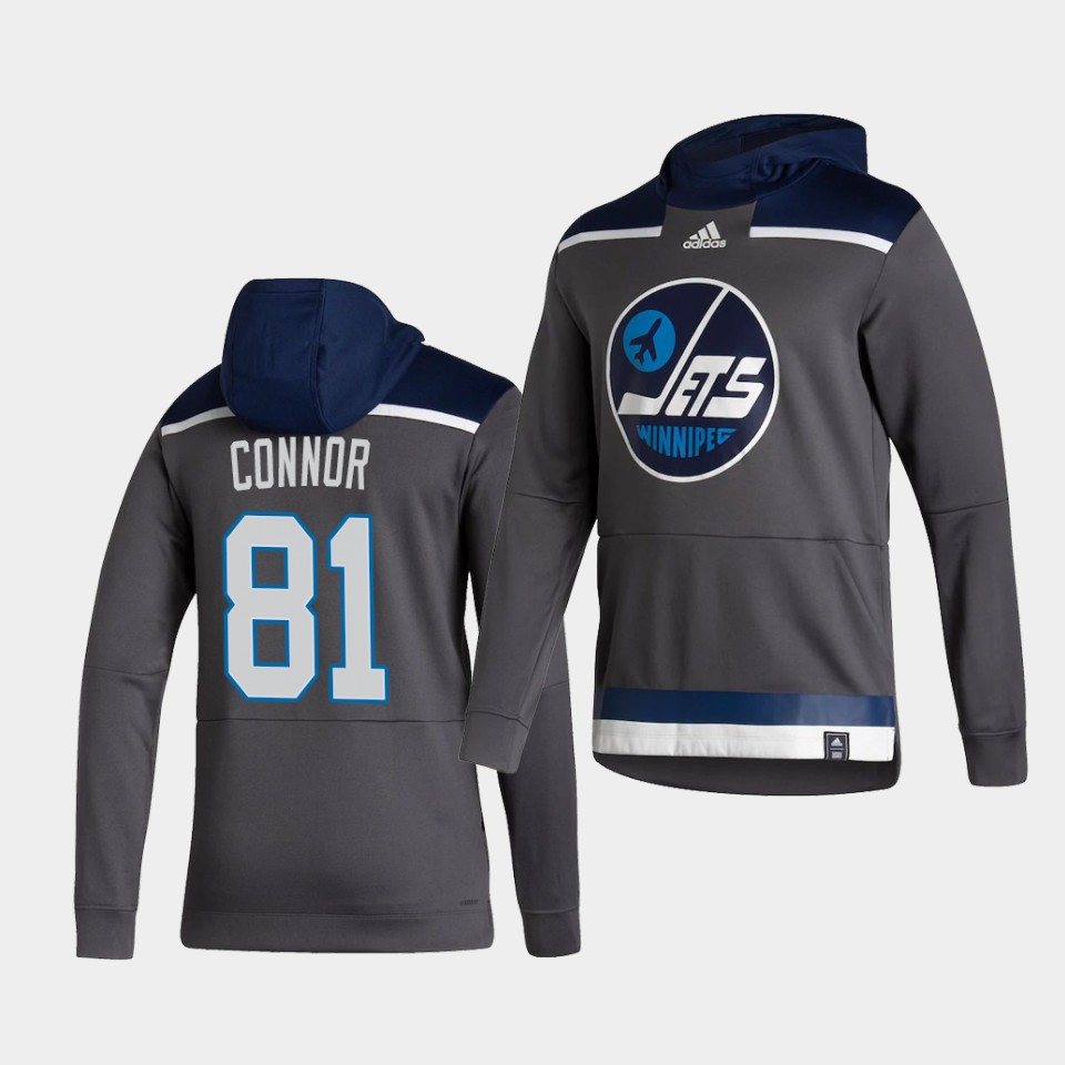 Cheap Men Winnipeg Jets 81 Connor Grey NHL 2021 Adidas Pullover Hoodie Jersey