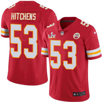 Wholesale Super Bowl LV 2021 Men Kansas City Chiefs 53 Anthony Hitchens Red Limited Jersey