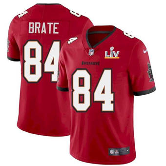 Wholesale Super Bowl LV 2021 Men Tampa Bay Buccaneers 84 Cameron Brate Red Limited Jersey