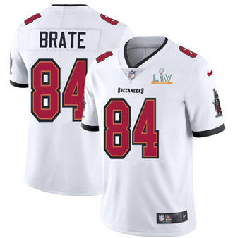 Wholesale Super Bowl LV 2021 Men Tampa Bay Buccaneers 84 Cameron Brate White Limited Jersey