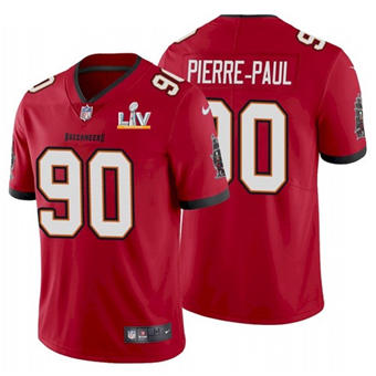 Wholesale Super Bowl LV 2021 Men Tampa Bay Buccaneers 90 Jason Pierre-Paul Red Limited Jersey