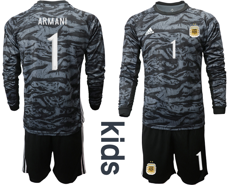 Cheap Youth 2020-2021 Season National team Argentina goalkeeper Long sleeve black 1 Soccer Jersey2