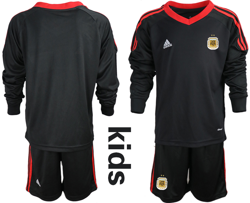 Cheap Youth 2020-2021 Season National team Argentina goalkeeper Long sleeve black Soccer Jersey