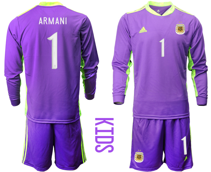 Cheap Youth 2020-2021 Season National team Argentina goalkeeper Long sleeve purple 1 Soccer Jersey