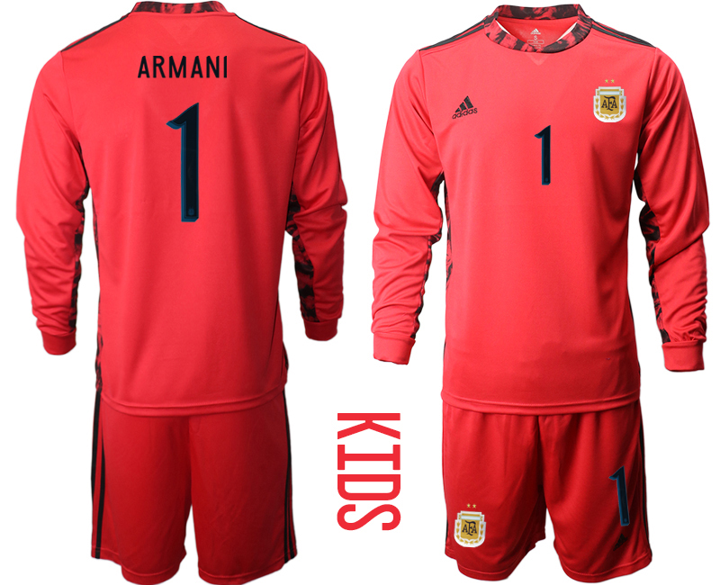 Cheap Youth 2020-2021 Season National team Argentina goalkeeper Long sleeve red 1 Soccer Jersey