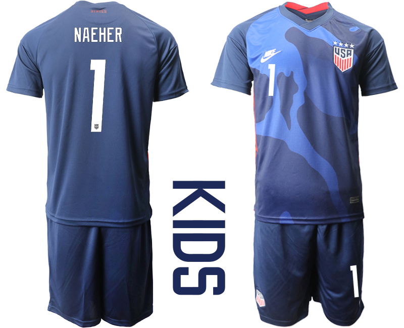 Wholesale Youth 2020-2021 Season National team United States away blue 1 Soccer Jersey