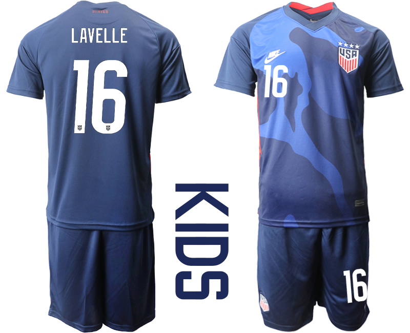 Wholesale Youth 2020-2021 Season National team United States away blue 16 Soccer Jersey