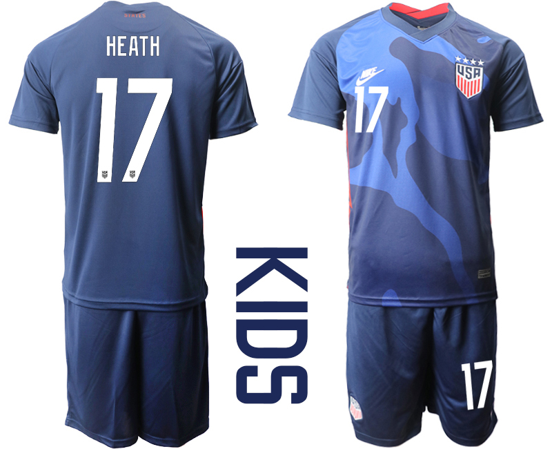 Wholesale Youth 2020-2021 Season National team United States away blue 17 Soccer Jersey