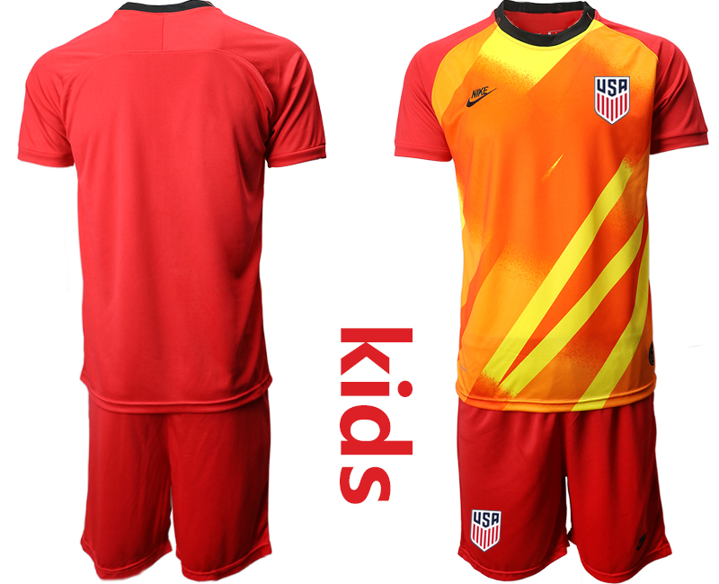 Wholesale Youth 2020-2021 Season National team United States goalkeeper red Soccer Jersey