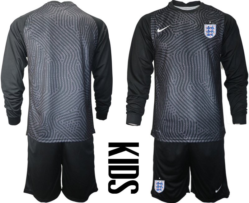 Cheap Youth 2021 European Cup England black Long sleeve goalkeeper Soccer Jersey