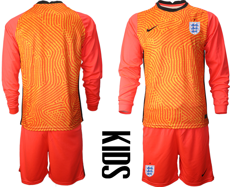 Cheap Youth 2021 European Cup England red Long sleeve goalkeeper Soccer Jersey